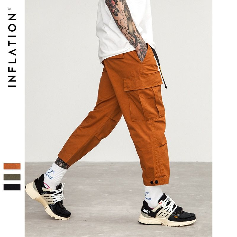 INFLATION Male Jogger Casual Plus Size Cotton Trousers <font><b>Multi</b></font> Pocket Military Style Army Green Orange Men's Cargo Pants 8403S