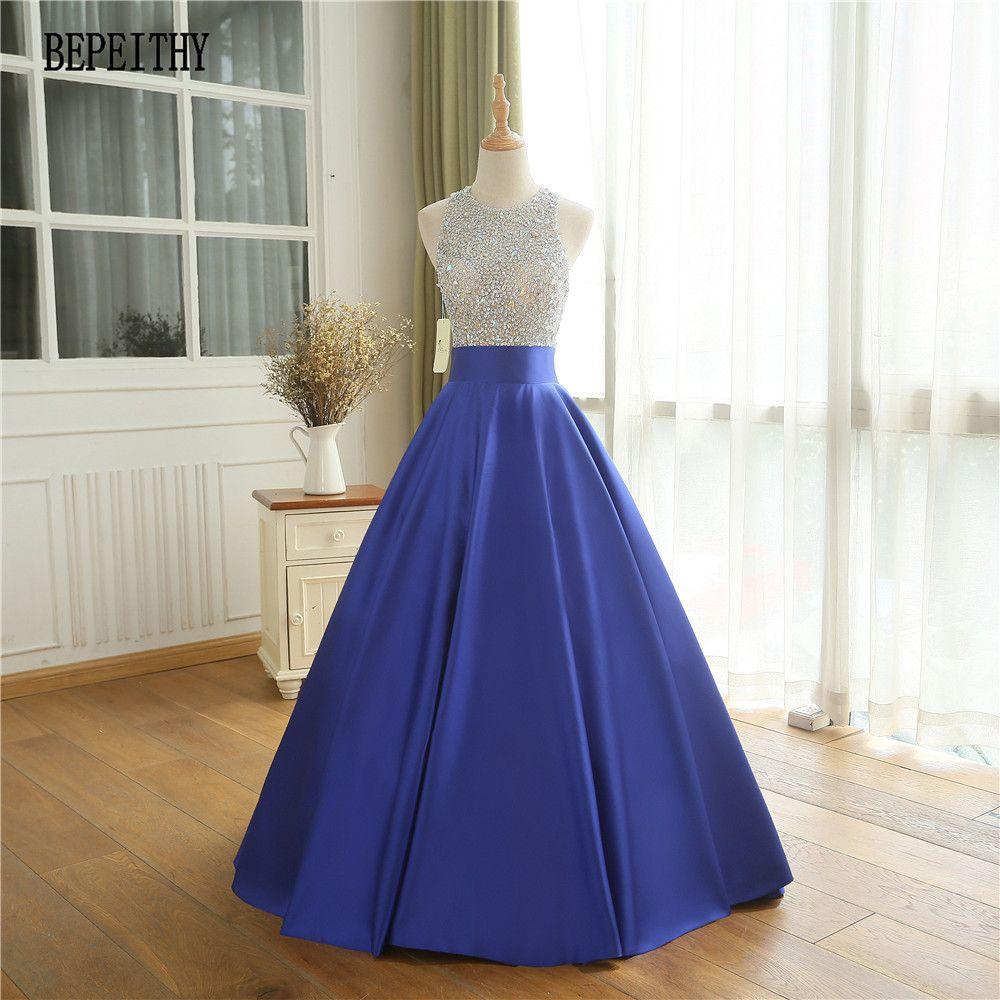 BEPEITHY Vestido De Festa Casamento Königsblau Gefrieste Top Party Kleid Lange Abendkleid 2018 Vintage Abendkleid Robe De soiree
