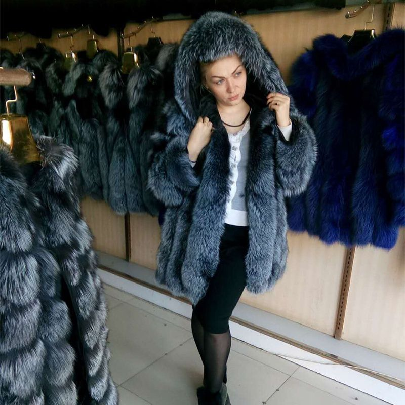 FURSARCAR Luxus Winter Natürliche Echtpelz Für Weibliche Echtem Fuchs Pelz Mantel Voll Pelt Starke Lange Jacke für frauen Mit pelz Haube