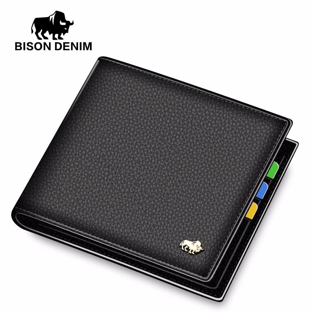 BISON DENIM Leather Men Wallet Brand Luxury Leather Wallets Office Male Wallet Mature Man Bifold Wallet 2017 Small Purse n4470-3