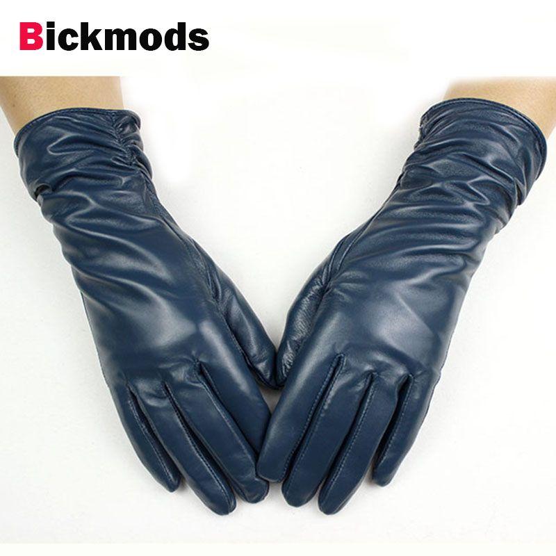 28 cm long sheepskin gloves women's elastic style multi-color velvet lining autumn and winter warm <font><b>points</b></font> female leather gloves