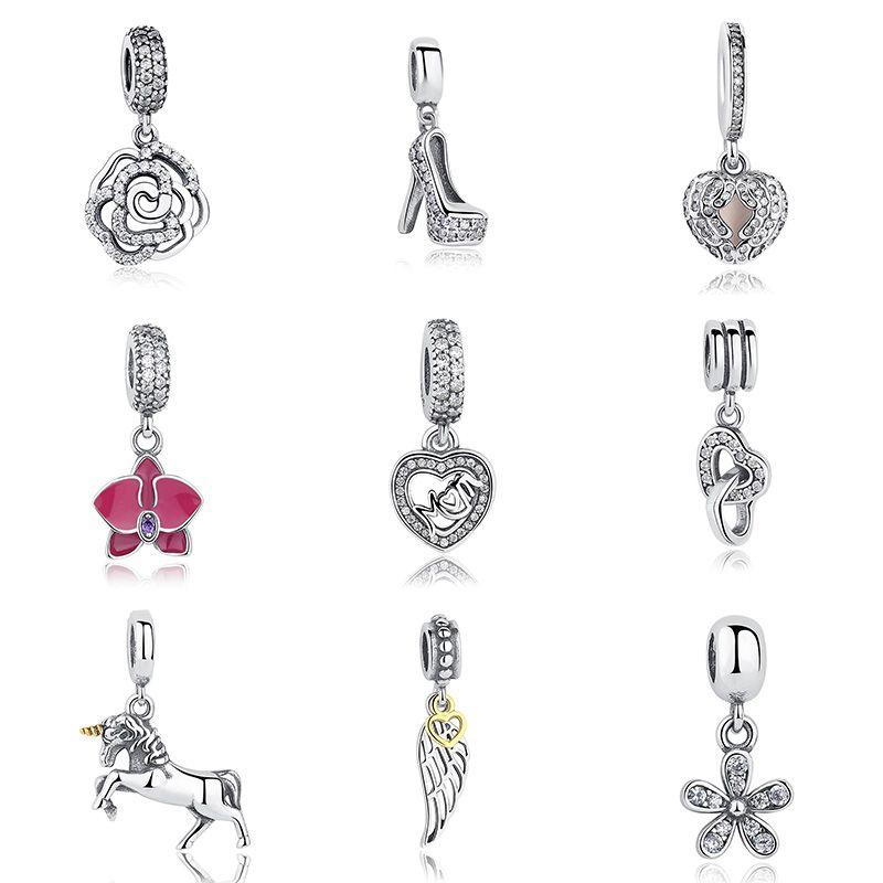 Heißer Verkauf Echtes 100% 925 Sterling Silber Anhänger Charme Baumeln Fit Original WST Armband Halskette Authentische Schmuck MAMA Geschenk