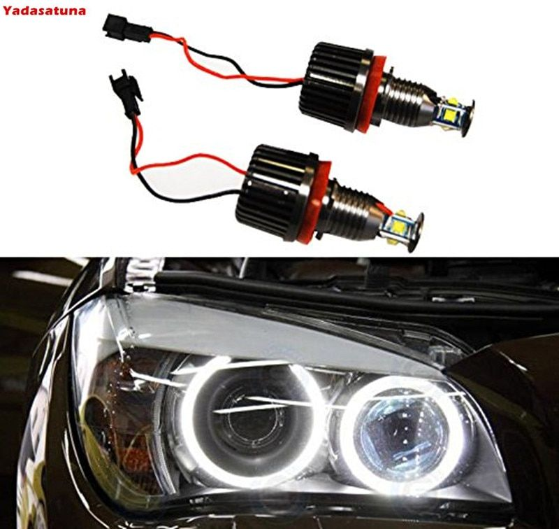 2 Pieces H8 40W CREE Chips LED Angel Eye Halo Ring Bulbs 6000K White Headlights Lamps Marker for BMW E60 E61 E90 E92 E70