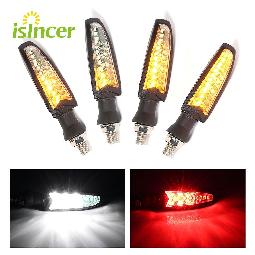 4 pcs Flowing Water Lighting LED Motorcycle Turn Signal Light Red Brake Lamp White DRL Indicators Blinkers Flicker For Harley