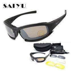 Originales saiyu X7 Militar gafas a prueba de balas ejército C6 polarizadas Gafas de Sol 4 lente Caza Tiro airsoft Ciclismo motocicleta Gafas