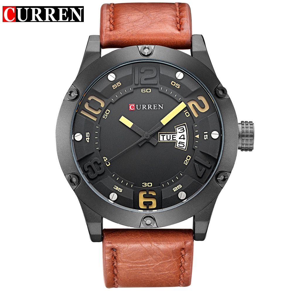 Curren Brand Men Fashion Casual Watches Men Sport Military Quartz Analog Date Clock Man men Wristwatch leather