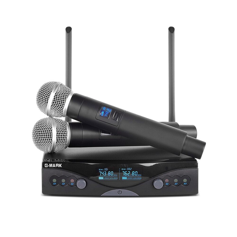 G-MARK RU4270 Wireless Microphone System UHF Long Range Dual Channel 2 Handheld Mic Transmitter Professional Karaoke Top quality
