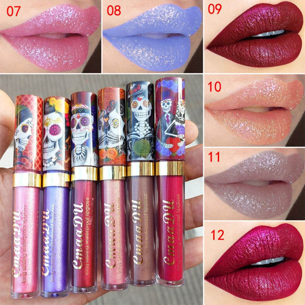 Waterproof Metallic Matte Liquid Lipstick Glitter Lip Gloss Non-stick Cup Makeup