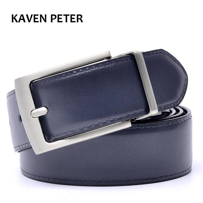 Boucle réversible ceinture Designer ceintures hommes de haute qualité en cuir véritable luxe sangle mâle ceintures couleur bleu foncé et noir