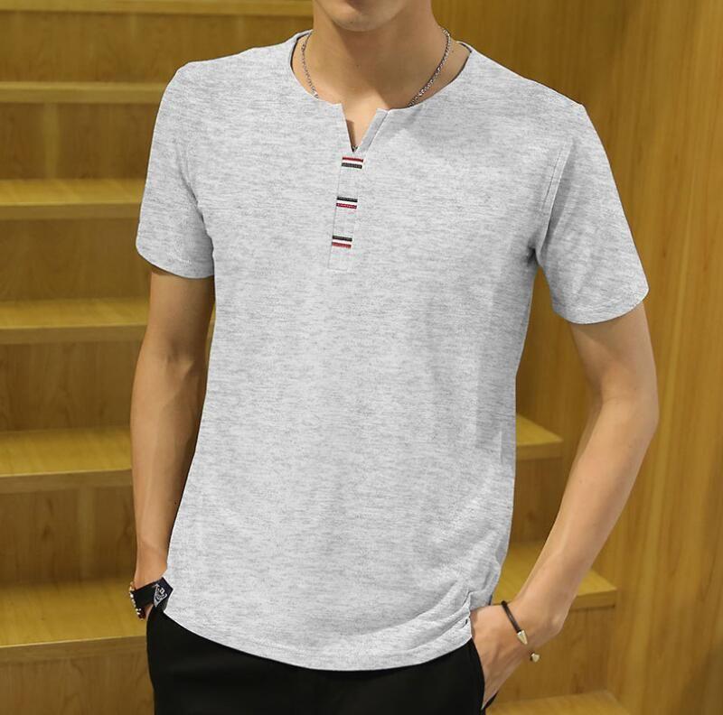 T-Shirt Men 2018 Spring Autumn New 100% Cotton T Shirt Men Solid Color Tshirt Mandarin Collar