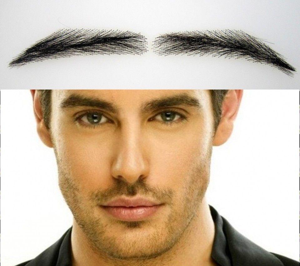 2018 Sobrancelha sourcils perruque formes pour hommes, gros cheveux humains dentelle hommes sourcils avec brun foncé/sourcil tatouage livraison gratuite,