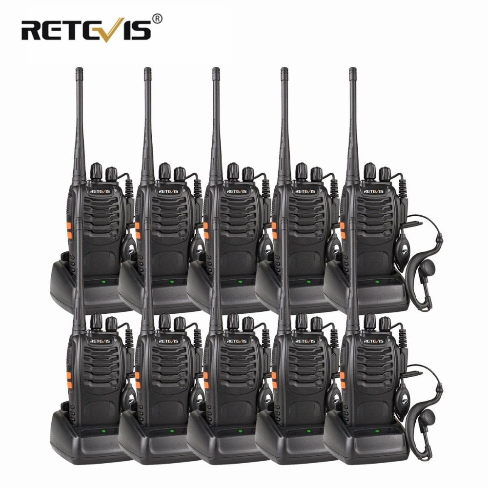 10pcs Portable Two Way Radio Walkie Talkie Retevis H777 Hotel/Restaurant Radio 3W UHF Flashlight USB Charging Walkie Talkies Set