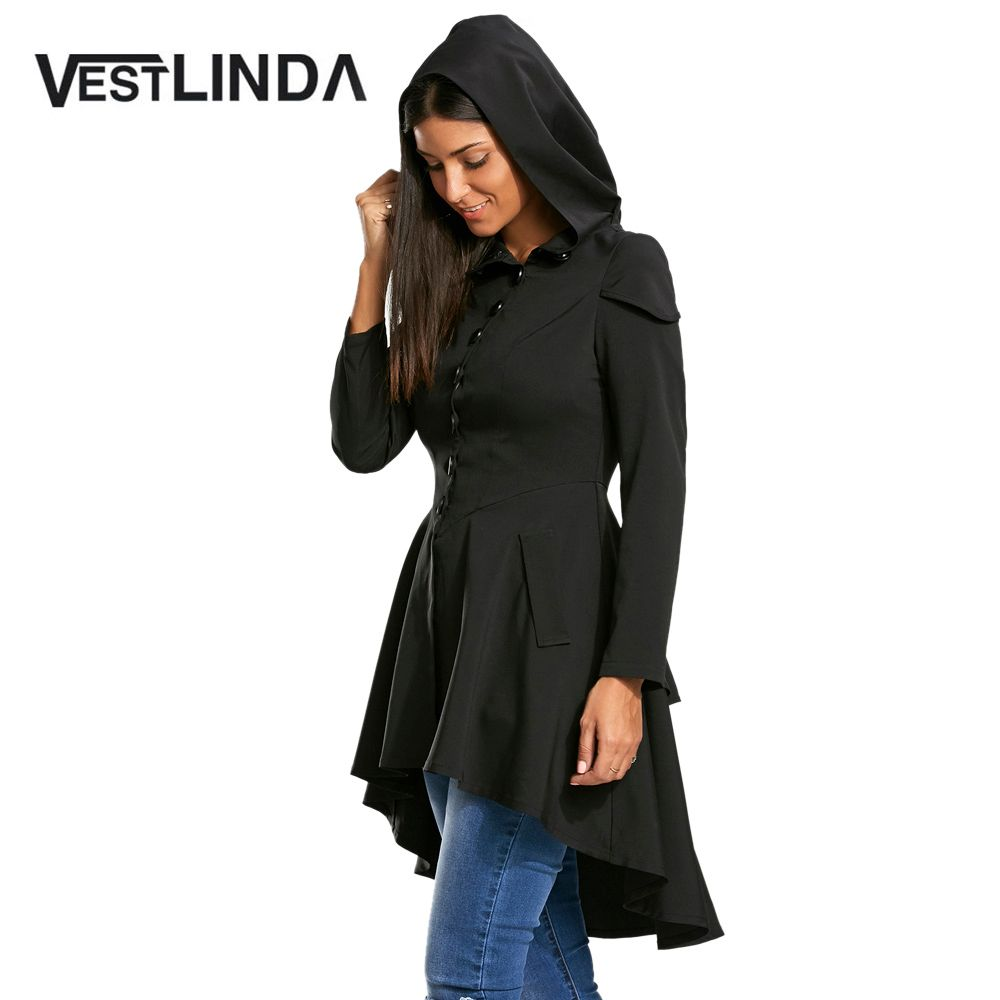 VESTLINDA Gothic Style 2017 Women Autumn Long Coats Layered Lace Up High Low Hooded Single Breasted Coat Criss-Cross Outerwear