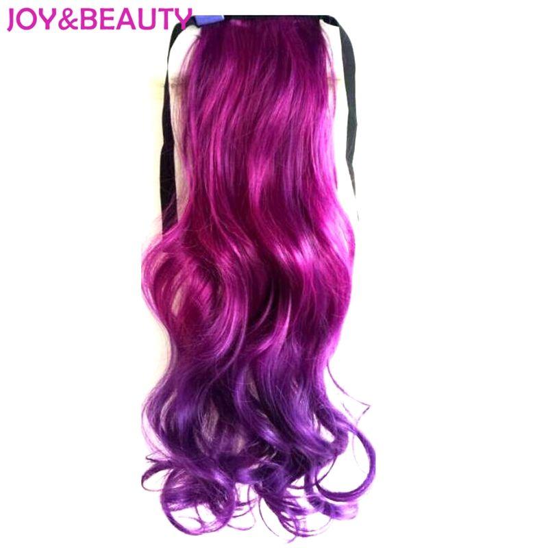 Радость и красоты волос высокого Температура Волокно длинные волнистые хвост Ombre зажим в Sythetic волос хвост 22 дюйма 14 видов цветов доступны