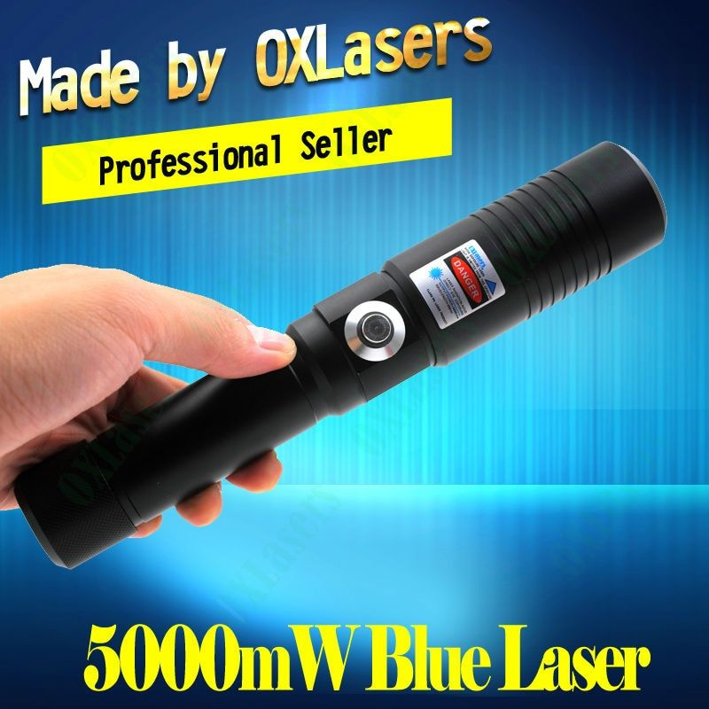 OXLasers the Most Powerful Burning Laser Torch OX-BX9 445nm 5000mw 5WFocusable blue laser pointer burn paper free shipping