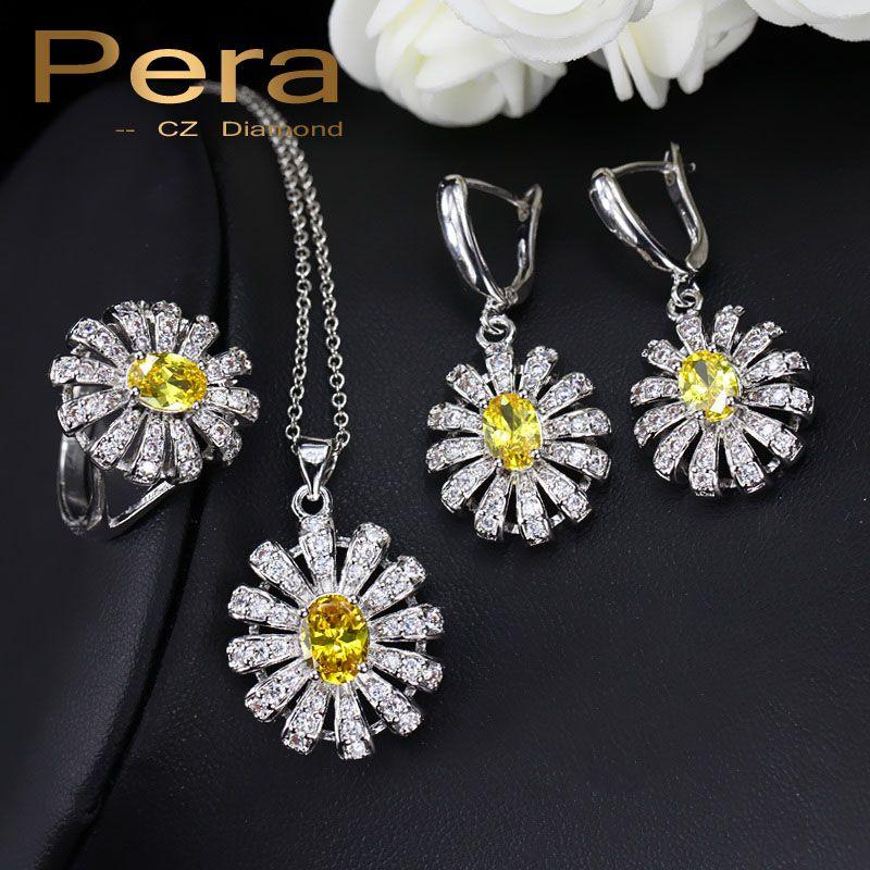 Pera 3 pièces 925 en argent Sterling CZ ensembles de bijoux pour les femmes grand jaune pierre soleil Cluster fleur Tennis collier et boucles d'oreilles J189