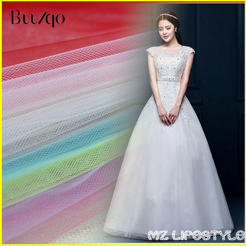 Offre spéciale 10 mètres/lot 150 cm largeur milieu dur Tulle maille tissu par lot tulle robe de mariée jupe fil tissu au mètre