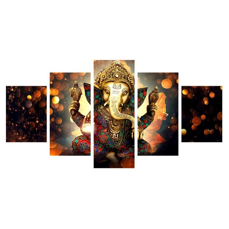 5 Panels Printes Abstract Elephant Canvas Pictures Painting for Living Room Home Wall Decor Frameless Art Paintings