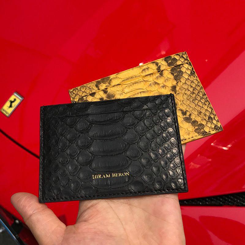Hiram Beron Markenhandyabdeckung Unisex Leder Karte Halter RFID Sperrung Python Kreditkarte Brieftasche Männer Individuelle weiblich brieftasche
