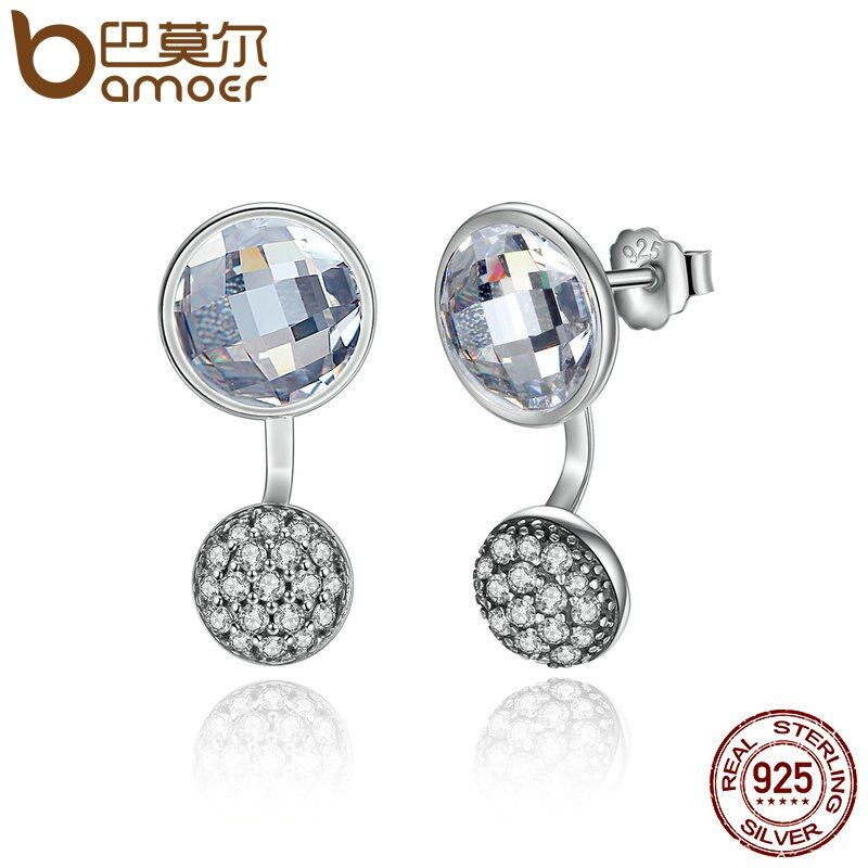 BAMOER 2018 New Arrival 925 Sterling Silver Dazzling Poetic Droplets Clear CZ Stud Earrings Women Wedding Jewelry Brincos PAS490