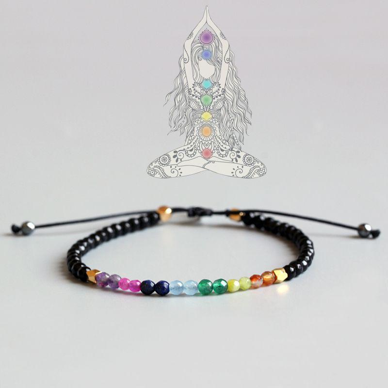 Bracelet Eastisan 7 couleurs cristal naturel Yoga sept Chakras Bracelet d'équilibre de guérison pour les femmes Reiki pierres de prière 3mm mince