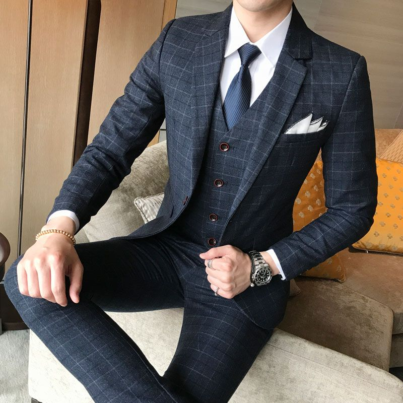 ( Jacket + Vest + Pants ) 2018 New Men's Fashion Boutique Plaid Wedding Dress Suit Three-piece Male Formal Business Casual Suits