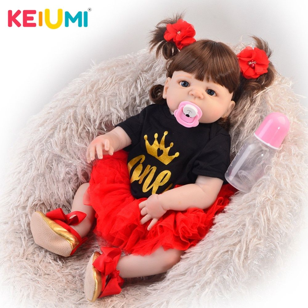 Exclusive 23' 57 cm Reborn Baby Girl Full Silicone Body Reborn Dolls Realistic Kids Playmates Baby Toys Girl Birthday Gifts