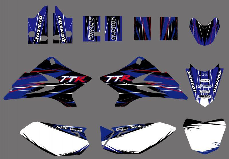 H2CNC TEAM GRAPHICS & BACKGROUNDS DECALS STICKERS Kits for Yamaha TTR50 2006 2007 2008 2009 2010 2011 2012 2013 TTR 50