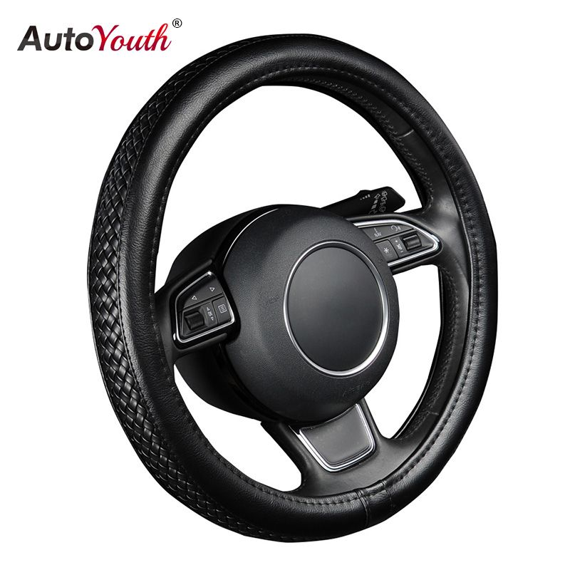 AUTOYOUTH PU Leather Steering Wheel Cover Black Lychee Pattern with Anti-slip Braiding Style M Size fits 38cm/15 Diameter