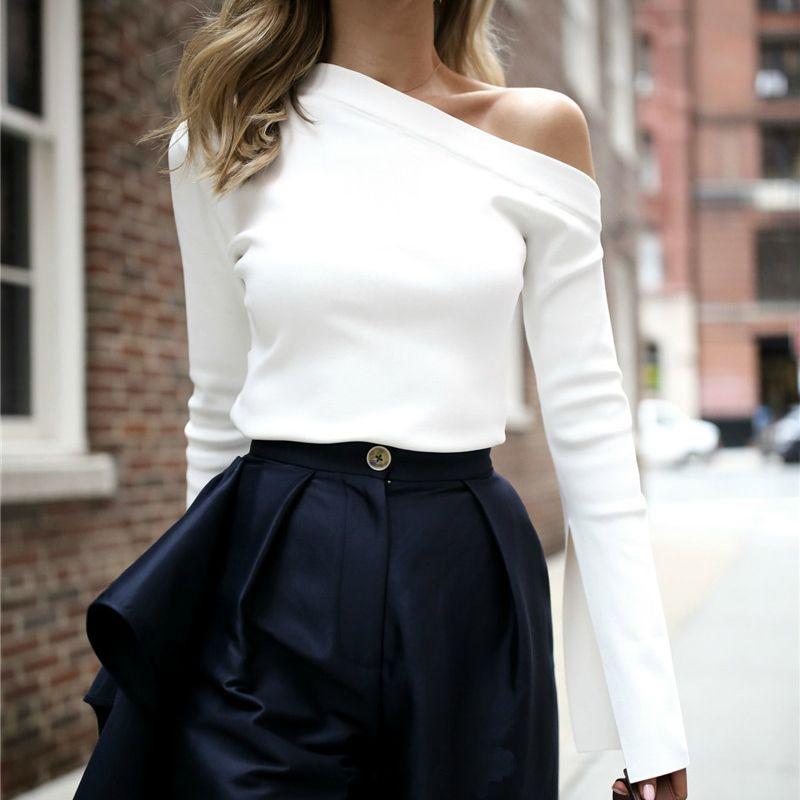 TWOTWINSTYLE White Female T-Shirt Off Shoulder Slash <font><b>Neck</b></font> Sexy Top Split Long Sleeve Women's T-shirts Korean Clothes Large Sizes