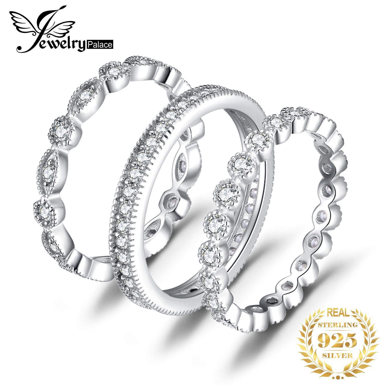 Bijoux palace mode 2.15ct zircon cubique 3 anneaux de bande d'éternité pour les femmes pur 925 bague en argent Sterling véritable bijoux en argent