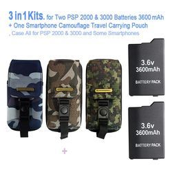 Game accessories for Two PSP Batteries ( 3600 mAh ) + One PSP Camouflage Travel Carrying Pouch, Bag For All SONY PSP-2000,3000