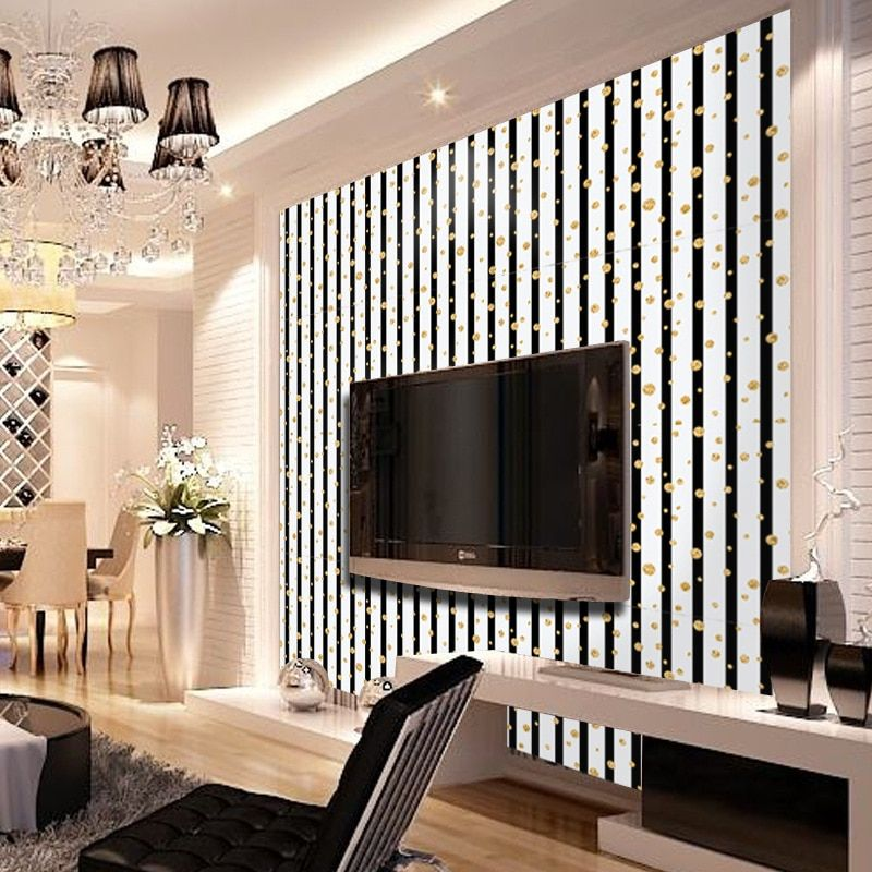 Fashion Luxury Golden Circle Vertical Stripes Wallpaper Living Room Background Wall Decor Art Wall Paper SA-1108