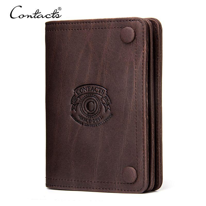 CONTACT'S hommes portefeuilles marque Design Crazy Horse véritable cuir homme court portefeuille Hasp homme porte-monnaie avec porte-monnaie