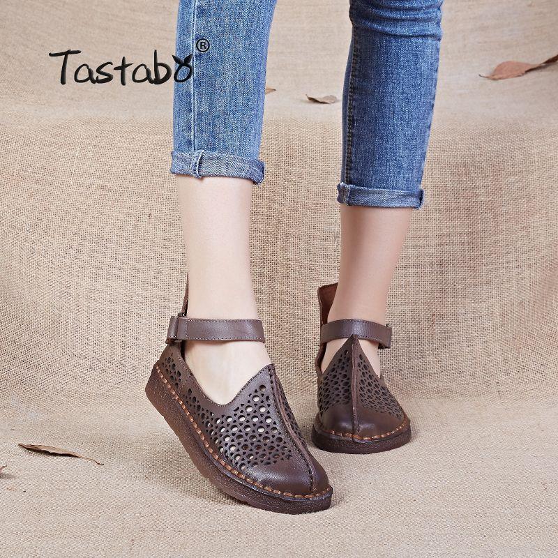 Tastabo Dames Chaussures À La Main Chaussures En Cuir Véritable Appartements Femmes Chaussures de Conduite Creux Doux Véritable Mocassins 2017 Chaussures D'été