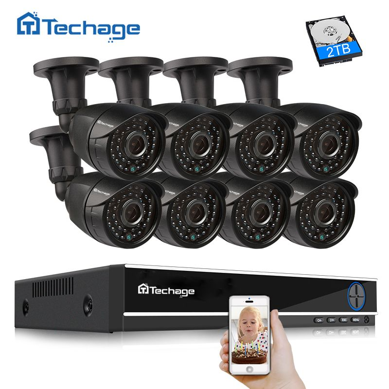 Techage 8CH 1080P HDMI DVR Kit AHD CCTV System 2.0MP 1080P Indoor Outdoor Security Camera P2P Video Surveillance System Kit