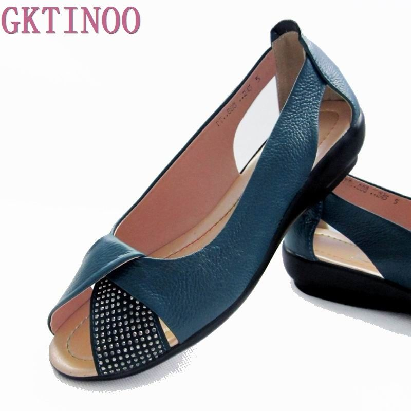 2018 Summer Women Shoes Woman Genuine Leather Platform Sandals Open Toe Mother Wedges Casual Sandals Women Sandals