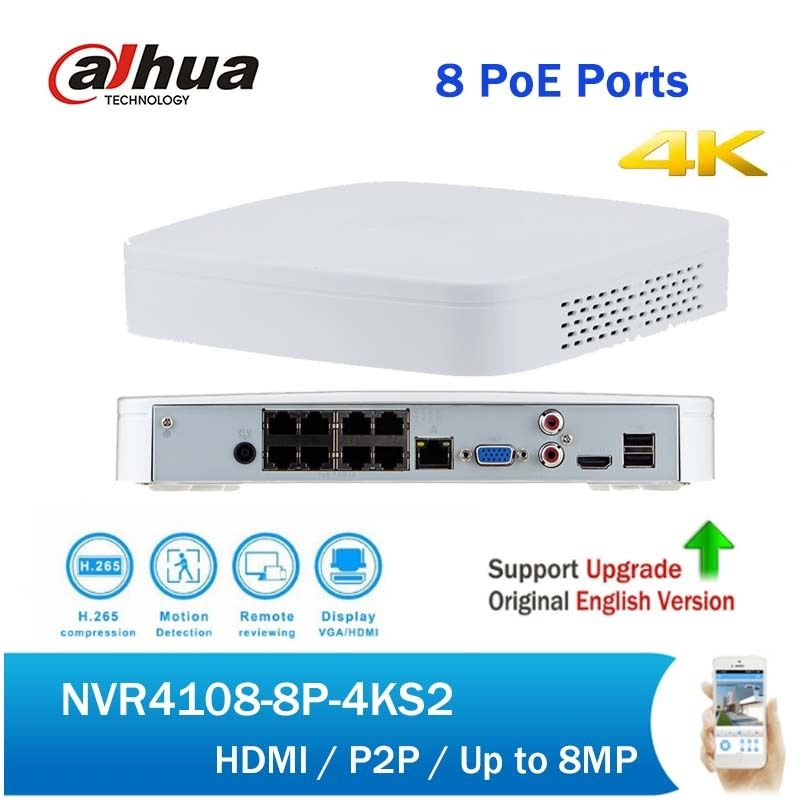 Dahua 4K NVR NVR4108-8P-4KS2 H265 Smart 1U 8CH 8 PoE NVR up to 5MP for Security CCTV System replace NVR4108-8P