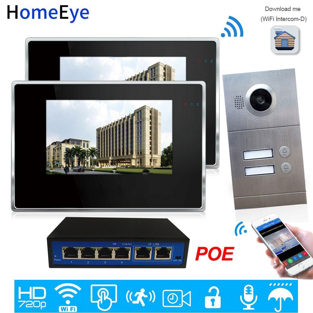 720P WiFi IP Video Tür Telefon Video Intercom 2-Wohnungen Tür Access Control System iOS/Android Mobile APP Remote Entsperren Alarm