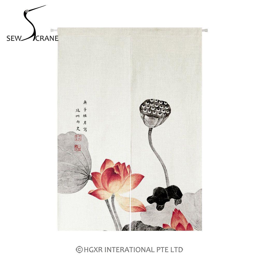SewCrane Lotus Blume Pflanzen Japanischen Hause Restaurant Tür Vorhang Noren Tür Raumteiler