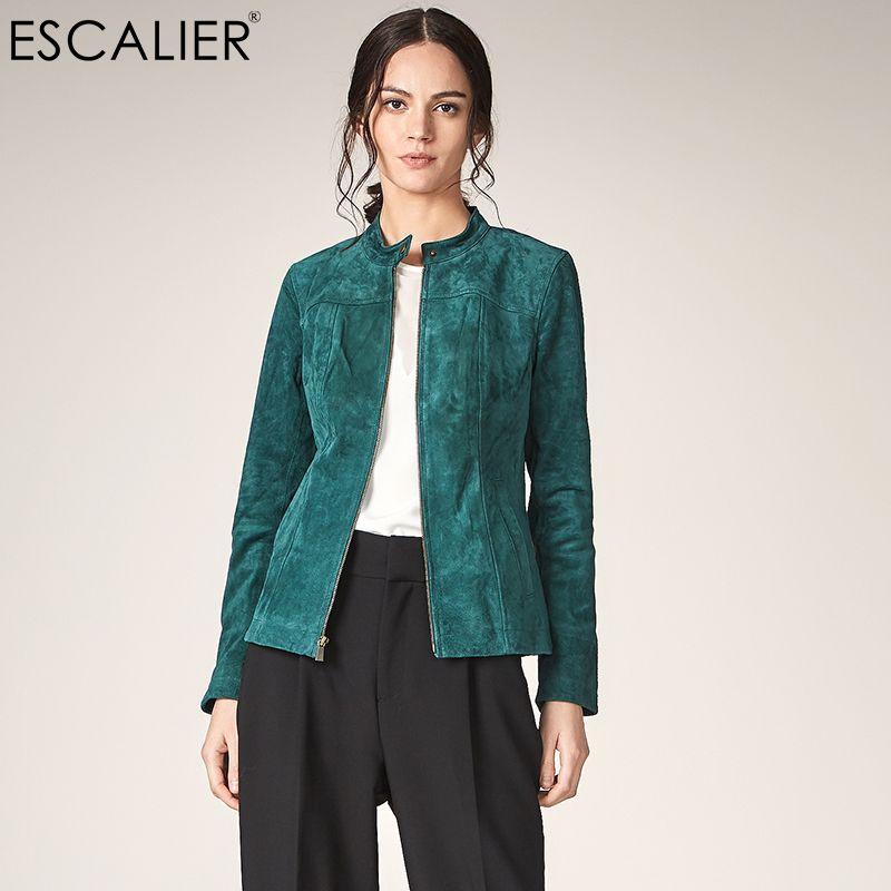 ESCALIER Autumn Women Genuine Leather Jackets Casual Pigskin Plus Size Outerwear Green Long Sleeve Women Basic jacket Coats