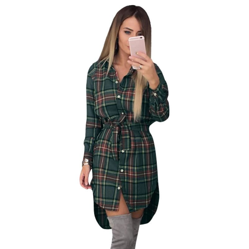 Femmes Blouses à manches longues Plaid chemises tourner vers le bas col chemise tunique décontractée féminine irrégulière Blouses grande taille hauts LJ5932M