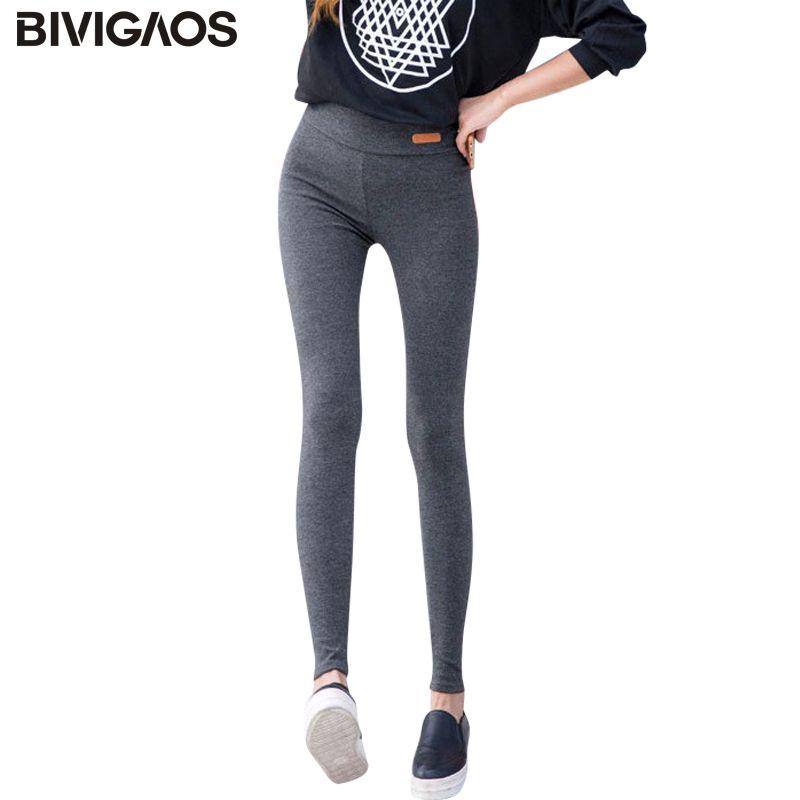 BIVIGAOS Nouveau Femmes Casual Épaississent Neuf Pantalons Leggings Taille Lable En Cuir Élastique Coton Leggings Pantalon Femme Vêtements Pour Femmes