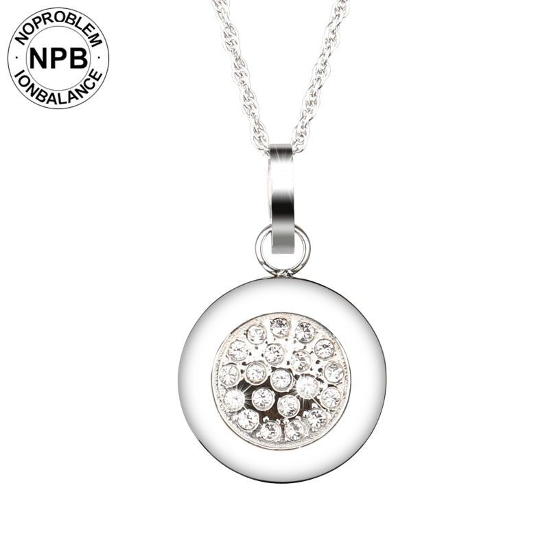Noproblem 029 Best negative ion health power therapy round pendant crystal tourmaline germanium necklaces