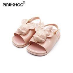 Mini Melissa 2018 3D Mickey y Minnie Jelly Zapatos Sandalias Soft Comfort Sandalias Niño muchacha de Melissa sandalias de playa