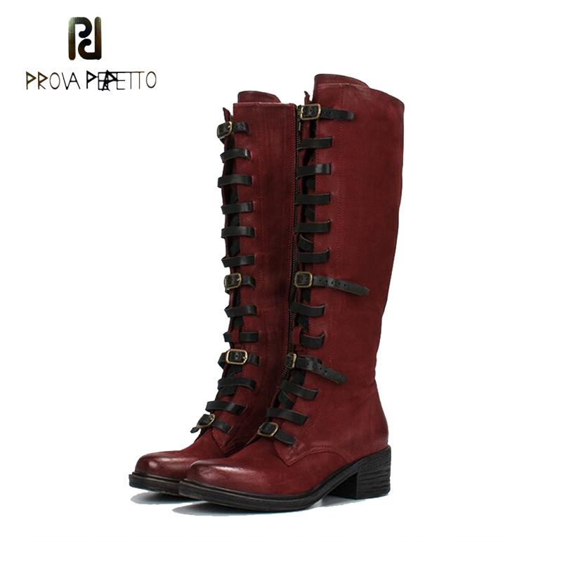 Prova Perfetto Women Knee High Boots Retro Knight Boot Autumn Winter Zipper Boots Straps Shoes Woman Platform Rubber Long Boots