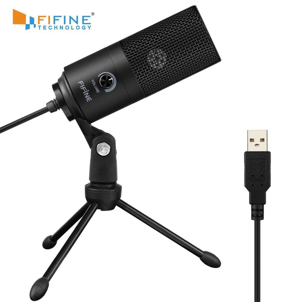 Microphone d'enregistrement à condensateur USB en métal Fifine pour ordinateur portable MAC ou Windows