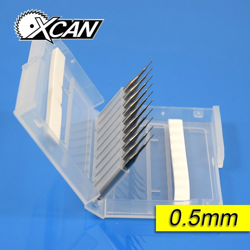 10pcs Carbide 0.5mm 0.6mm 0.7mm PCB Carbide Tools, CNC Cutting Bits, Millinging Cutters Kit for Engraving Milling Machine