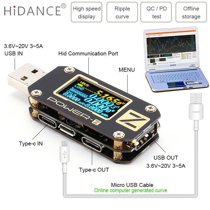 Testeur USB POWER-Z QC3.0/PD voltmètre numérique ampèreimetro courant de tension ampèremètre volts type-c détecteur de batterie externe