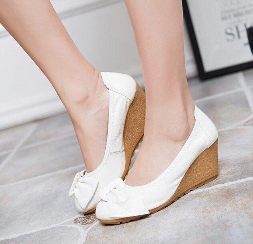 2016 mode femmes chaussures compensées en cuir véritable bout rond talons hauts pompes femme maman chaussures